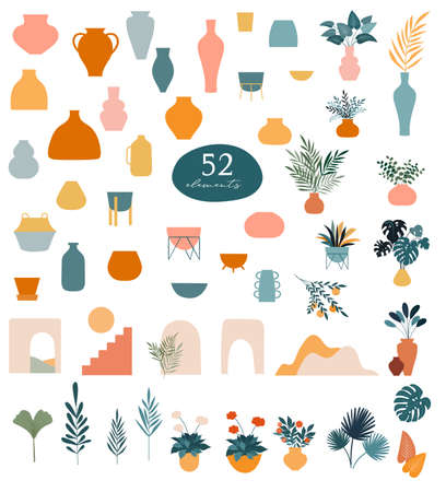 Collection of stickers and floral design elements, vases, plants and leaves, hand drawn in trendy doodle style. Colorful vector illustrations and prints Vektorové ilustrace