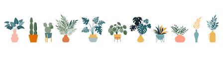 Urban jungle, trendy home decor with plants, cacti, tropical leaves in stylish planters and pots. Vector illustration Vektoros illusztráció