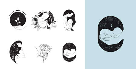 Motherhood, maternity, babies and pregnant women , collection of fine, hand drawn style vector illustrations and icons