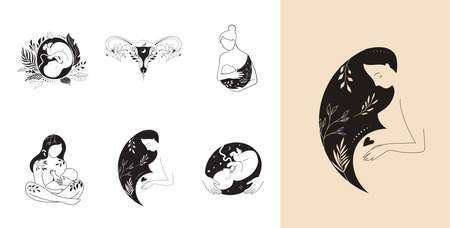 Motherhood, maternity, babies and pregnant women , collection of fine, hand drawn style vector illustrations and icons Vektorgrafik