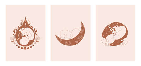 Motherhood, maternity, babies and pregnant women, collection of fine, hand drawn style vector illustrations and icons