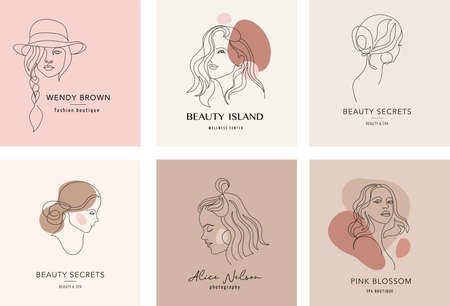 Vector logo and branding design templates in minimal style, for beauty center, fashion studio, haircut salon and cosmetics - female portrait, beautiful womans face