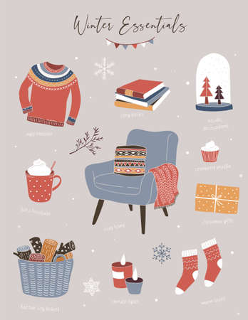 Nordic, Scandinavian winter elements and Hygge concept design, Merry Christmas card, banner, background, hand drawn vector illustrations 向量圖像