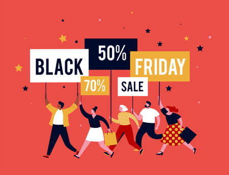 Black friday, mega sale banner, scene with a crowd, women and men running with shopping bags. Sale concept design