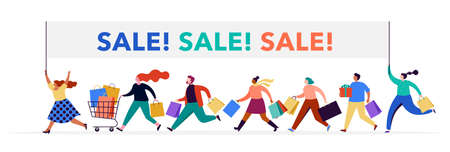 People carrying shopping bags collection. Happy men and women taking part in seasonal sale at store, shop, mall and online. Cartoon characters on white background