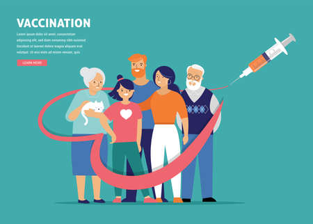 Family Vaccination concept design. Time to vaccinate banner - syringe with vaccine for COVID-19, flu or influenza and a family Vetores