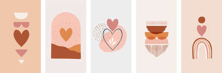 Collection of Boho Valentines day symbols and elements. Set of bohemian prints with earth color hearts and abstract shapes.  イラスト・ベクター素材