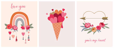 Valentines day collection of illustrations. Set of modern flat love icons and symbols, hearts, rainbows, decorations