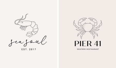 Hand drawn collection of seafood and fish restaurant logos, elegant retro style illustration of crab and shrimp