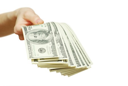 money with hand isolated on white photo