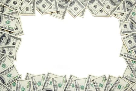 hundred dollar bill: Frame made of money isolated on white background