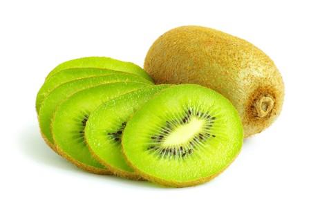 Fresh piece kiwi fruit isolated on white background Stock Photo