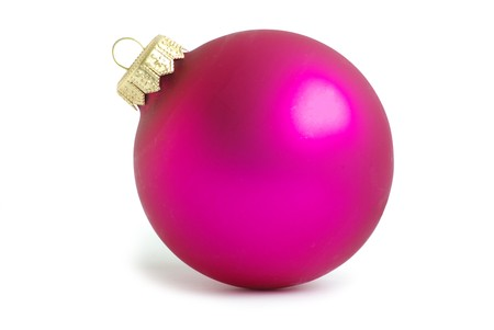 Pink christmas ball isolated on white background
