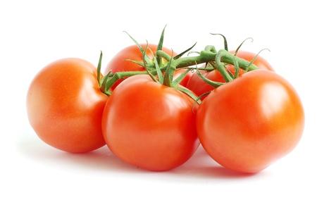 白い背景の上で分離されたトマトの枝