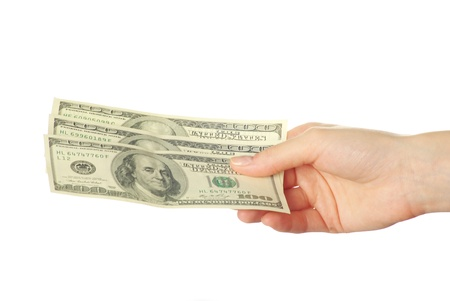 give money: Hand with money isolated on white background