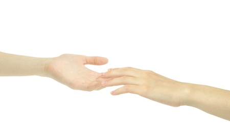 Two hands isolated on a white background Stock Photo