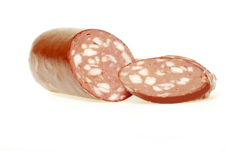 gastronome: sausage cut by slices on a white background