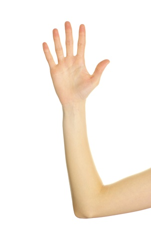 hand cut: hand isolated on a white background Stock Photo