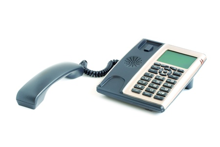 blue office telephone isolated on a white background Stock Photo - 11734990