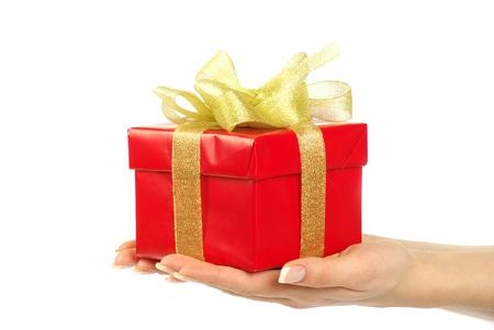 Boîte cadeau avec ruban sur fond blanc Banque d'images - 11735221