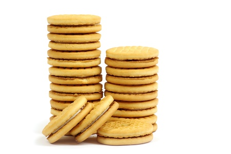 Stacks of cookies on white background Stock Photo - 11941913