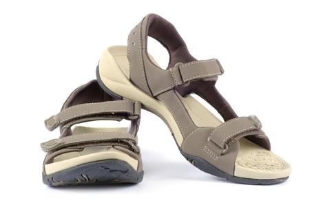 female sandals over white background photo