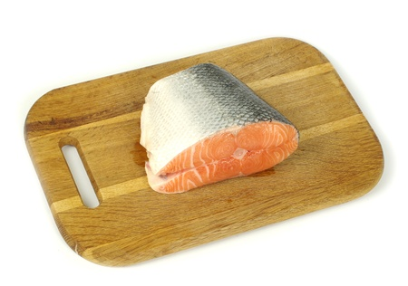 raw salmon fillet isolated on white photo