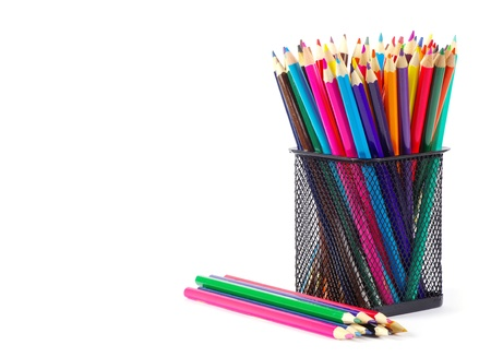 Various colour pencils isolated on the white photo