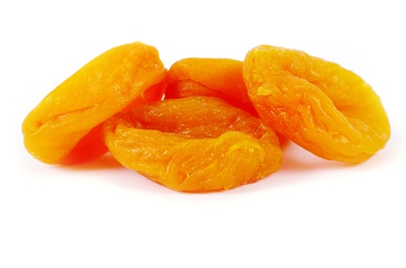 dried apricots on white background photo
