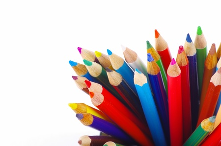 stack of colored pencils on white background Stock Photo - 12992712