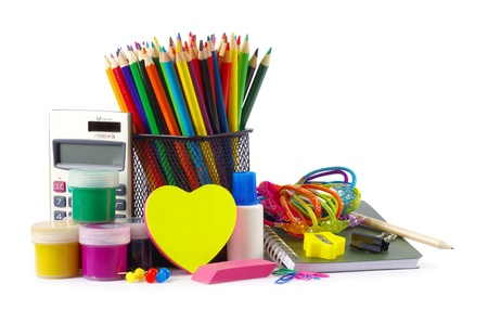 Back to school supplies on white photo
