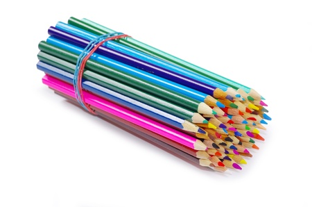 Various colour pencils isolated on the white Stock Photo - 14977160