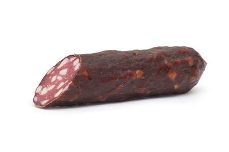 gastronome: Smoked sausage isolated on white Stock Photo