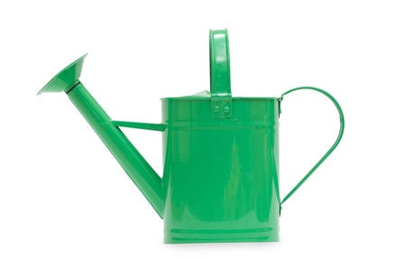 Green watering can isolated on a white background photo