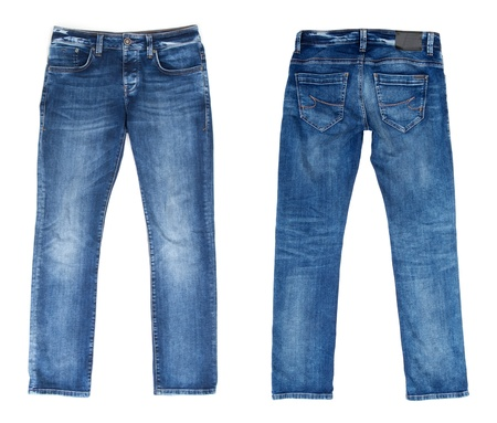 Blue Jeans Isolated on White Stock Photo