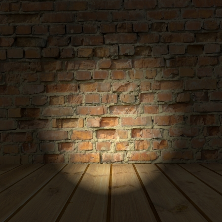 brick wall and wood floor texture inter  Stock Photo - 20566023