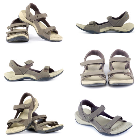 over white background: sandals collection over white background