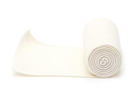white bandage: medical bandage roll on white Stock Photo