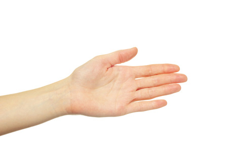 human palm: hand isolated on a white background Stock Photo