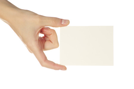 blanks: card blanks in a hand on white background