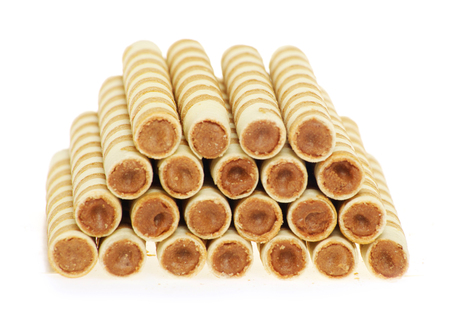 filled: Wafer rolls isolated on a white background