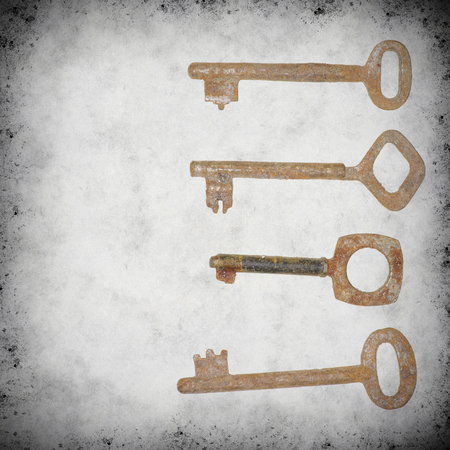 old keys: textured old background with old keys Stock Photo