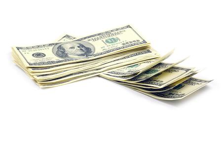 hoard: money isolated on white Stock Photo