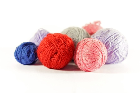 Colorful knitting wool balls photo