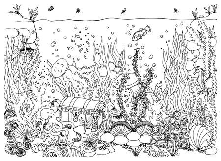 수 중 세계. 낙서 바다, 바다, 요정 이야기, 보물 상자 모험. 색칠하기 책 성인을위한 반대로 긴장. 검정색과 흰색. 일러스트