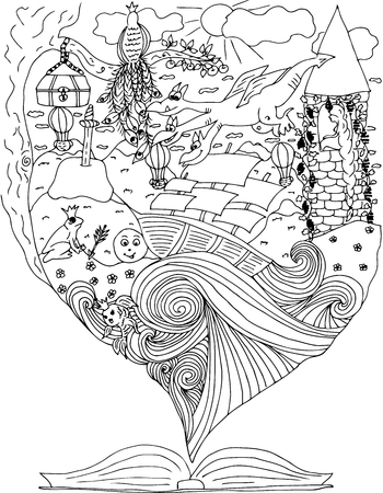 fables: Fairy tale. journey in world of fables. ship in ocean.