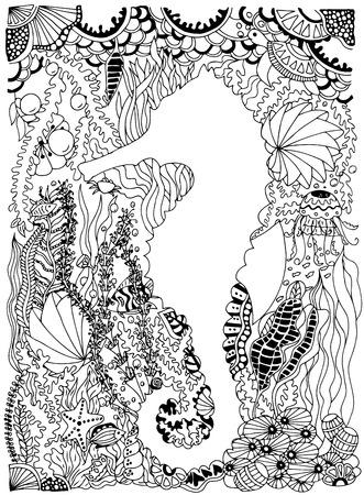 Ilustración Doodle Conjunto Criaturas Marinas Y Plantas. Océano ...