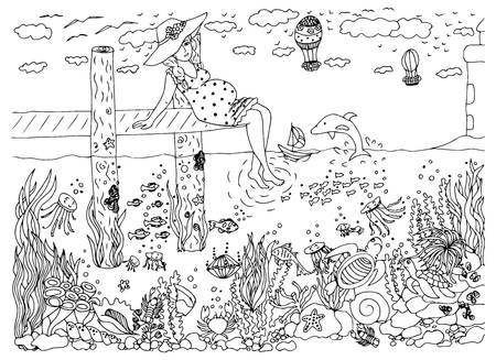 pier: illustration pregnant woman and the sea. Doodle drawing, underwater world. pier, lighthouse. dolphin holiday. Coloring book anti stress for adults. Black and white.