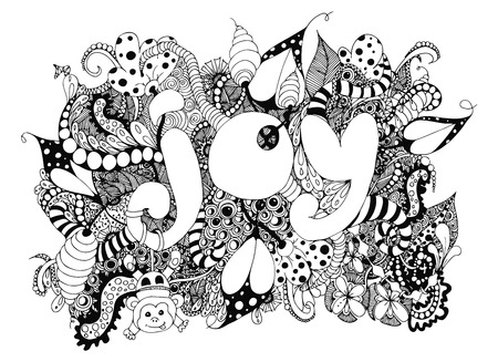 illustration word Joy with patterns. Doodle drawing, monkey, kids. Coloring book anti stress for adults and children. Black and white. Stock Photo