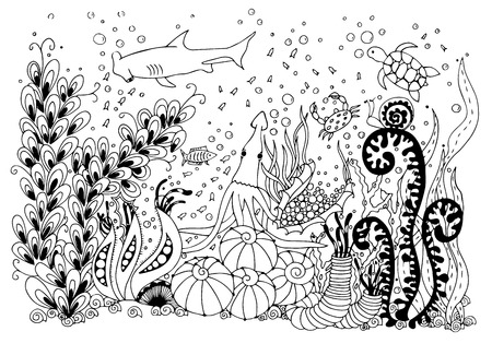 fairy story: illustration underwater world. Doodle sea, ocean, fairy story, a treasure chest adventure. Coloring book anti stress for adults. Black and white.